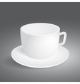 Empty cup on gray background vector image