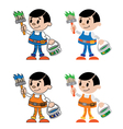 figures of house painter vector image vector image