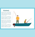 fisherman with fishing rod in boat icon vector image vector image