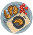 Fried meat on a pan with tomatoes vector image
