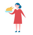 girl with turkey in bow icon vector image