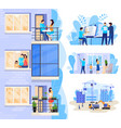 happy family in modern apartment new house vector image vector image