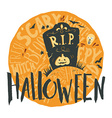 Happy halloween grunge emblem with a headstone and vector image
