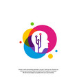 head tech logo concept brain robotic logo vector image vector image