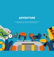 horizontal banner equipment for outdoor activities vector image vector image