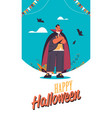 man wearing dracula costume happy halloween party vector image
