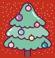merry christmas celebration cute pine tree vector image vector image