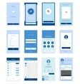 Mobile User Interface 35 Screens Wirefrme Kit for vector image
