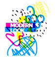 modern poster different shapes in doodle style vector image vector image