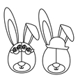 monochrome contour with faces couple of rabbits vector image