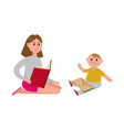 mother reading a book to her cute son cartoon vector image