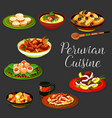 peruvian cuisine dishes with meat and seafood vector image vector image