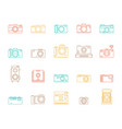 photo camera signs color thin line icon set vector image vector image