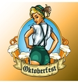 Pretty Bavarian girl label vector image vector image
