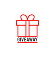 red giveway logo like thin line gift vector image