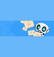 robot holding envelopes email letters chatter bot vector image vector image