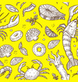 seafood with greenery and lemon sketches on yellow vector image vector image