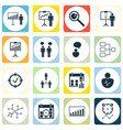 set of 16 authority icons includes approved vector image vector image