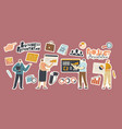 set stickers business project presentation vector image