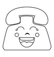 telephone service kawaii character vector image