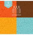 Thin Line Oktoberfest Beer Holiday Patterns Set vector image