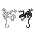 two monochrome geckos vector image