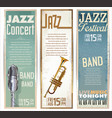 vintage jazz banner collection vector image vector image