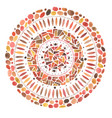 watercolor hand drawn red mandala mosaic ornament vector image