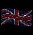 waving british flag pattern of umbrella icons vector image