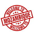 welcome to mozambique red stamp vector image vector image