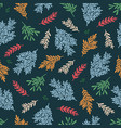 winter seamless pattern with twigs coniferous vector image