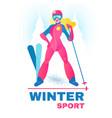 winter sport label alpine slier girl in forest vector image vector image
