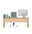 workplace for worker desk with computer documents vector image vector image