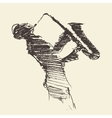 Jazz poster Man playing saxophone drawn sketch vector image