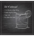 Old fashioned cocktail on black board vector image