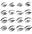 set of 16 eye designs vector image