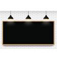 blank blackboard in white brick wall background vector image