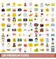 100 premium icons set flat style vector image vector image