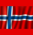 3d realistic wavy norway flag norwegian symbol vector image