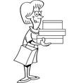 Black and white of a women shopper ho vector image