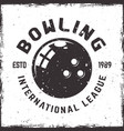 bowling league emblem in vintage style vector image vector image