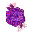 bright purple pink blue fantasy flower framed vector image