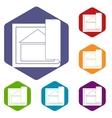 Building plan icons set vector image vector image