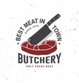 butcher meat shop badge or label with steak and vector image vector image