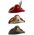 cartoon tricorne pirate hat with skull and feather vector image vector image