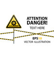 caution cutting shafts safety sign sign on pole vector image vector image