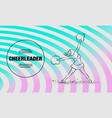 cheerleader dances with pom poms outline vector image vector image