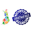 christmas sale collage of mosaic map of finland vector image vector image