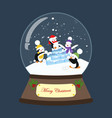 christmas snow globe with penguin vector image vector image