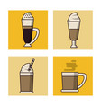 coffee drinks icon set vector image
